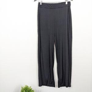 NY Collection Black Wide Leg Elastic Pants Petite
